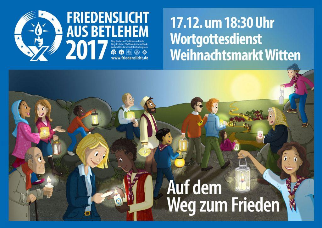 Friedenslicht-2017 - Aussendungsfeier auf dem Wittener Weihnachtsmarkt am 17. Dezember um 18:30 Uhr